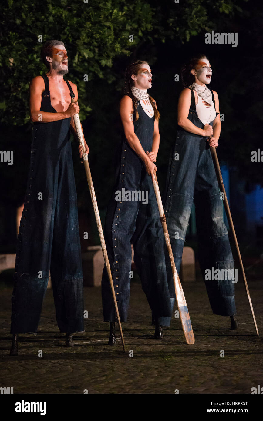 Callings, street theatre performance by The Carpetbag Brigade performed at Festival Lent, Maribor, Slovenia, Europe, - Stock Image