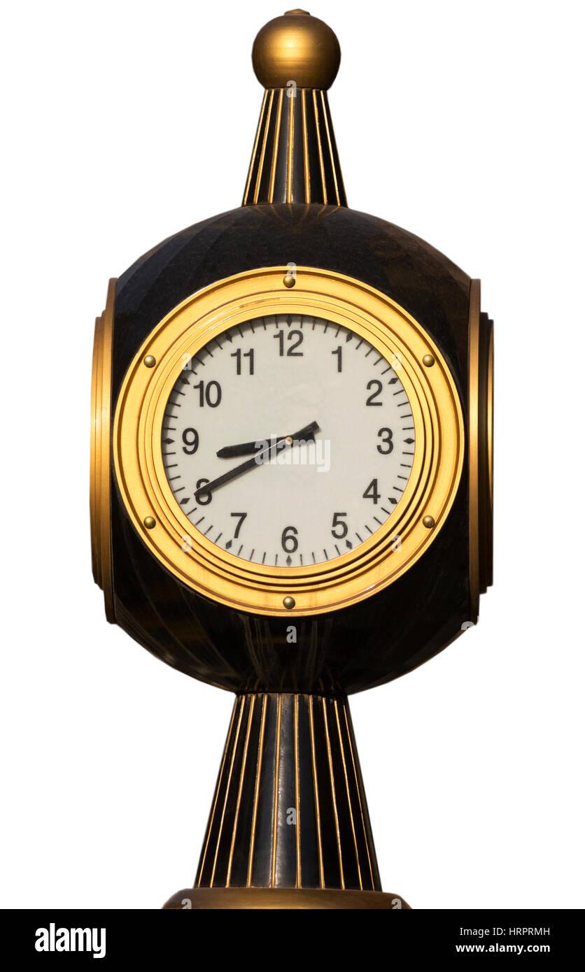 Old street clock on white background - Stock Image