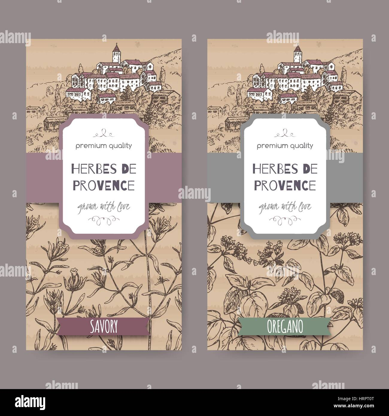 Two Herbes de Provence labels with town, savory and oregano. - Stock Vector