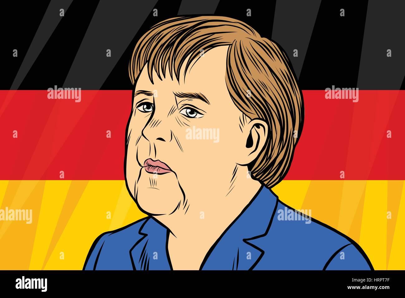 Chancellor Angela Merkel, German flag. Vintage comics cartoons illustration pop art retro vector - Stock Vector