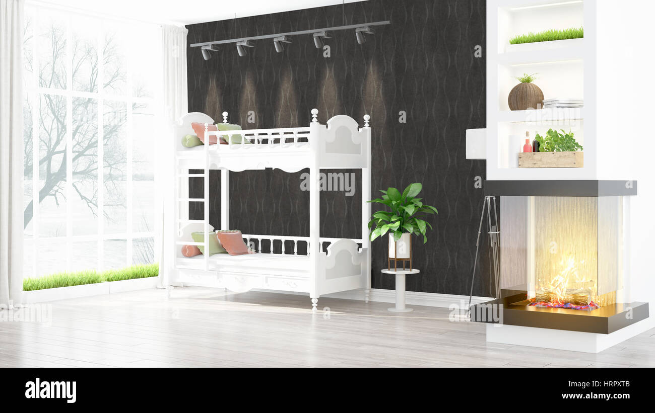 Beautiful Modern Childrens Room Interior With Fireplace 3d Stock