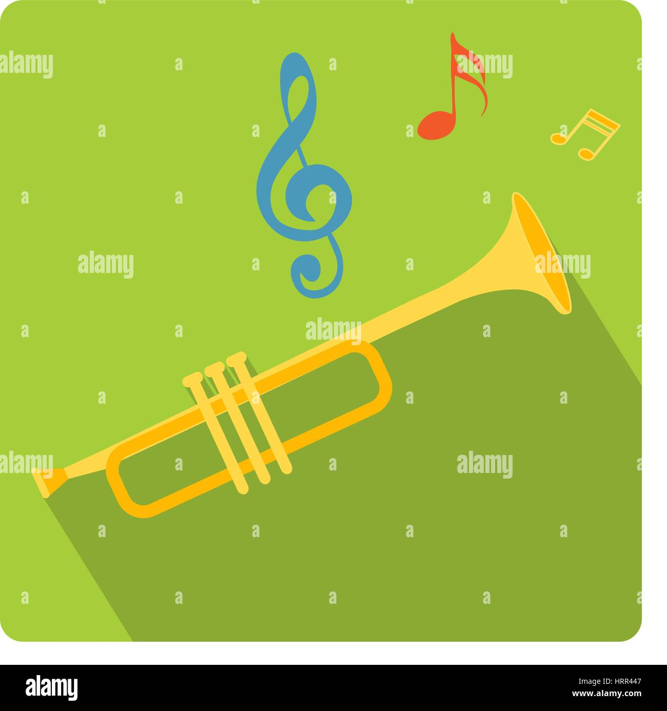 Trumpet musical instrument icon flat style with long shadows, isolated on white background. Vector illustration. - Stock Image