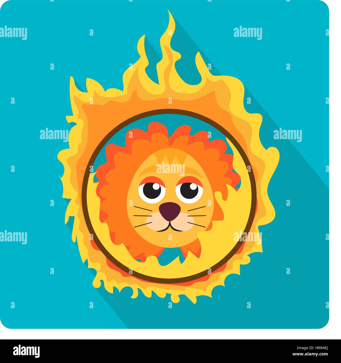 Lion jumping through a ring of fire in the circus icon flat style with long shadows, isolated on white background. - Stock Image