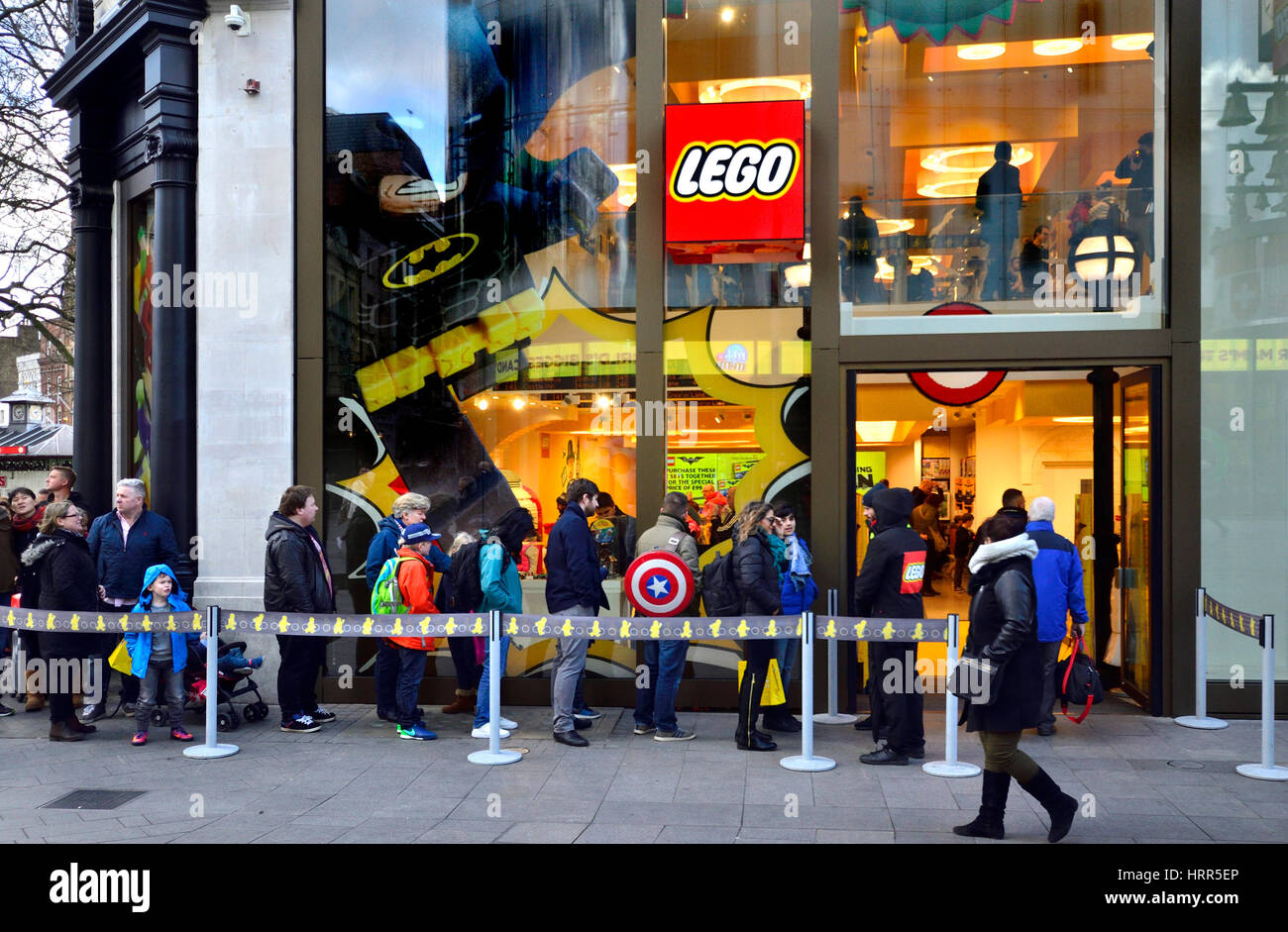 London, England, UK. Queuing outside the Lego Shop, Leicester Square - Stock Image