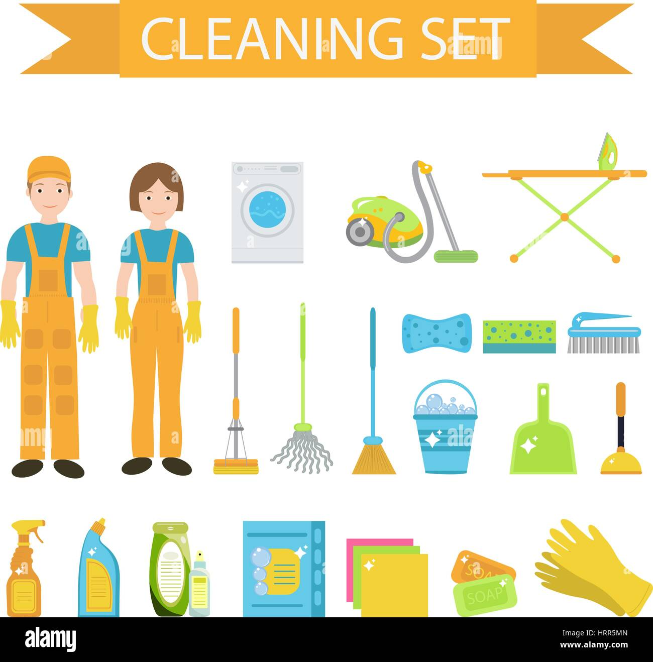 Set of icons for cleaning tools. House cleaning staff. Flat design style. Cleaning design elements. Vector illustration. - Stock Vector