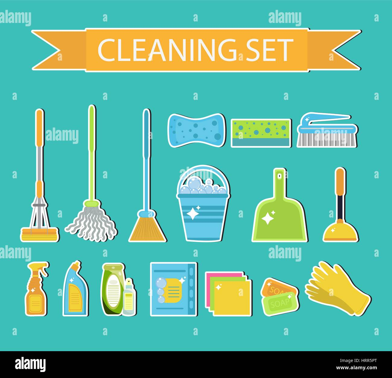 Set of icons for cleaning tools. House cleaning staff. Flat design style. Cleaning sticker. Cleaning design elements. - Stock Vector