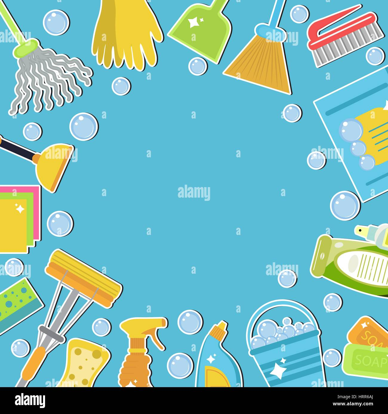 Set of icons for cleaning tools. Cleaning template for text, background. Flat design style. Cleaning design elements. - Stock Vector