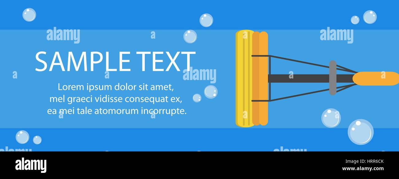 Cleaning banner. Mop banner template for your text. Vector illustration - Stock Vector