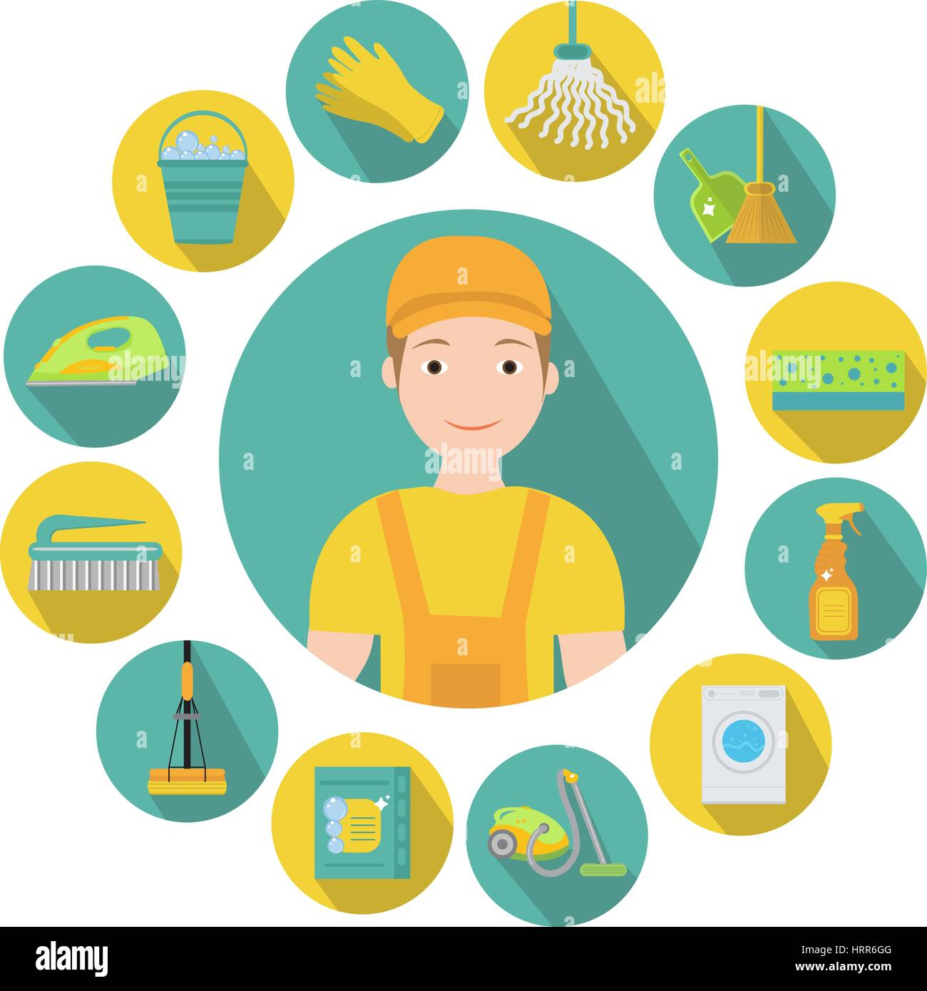 Set of icons for cleaning tools. House cleaning staff. Flat design style. Cleaning design elements. Vector illustration - Stock Vector