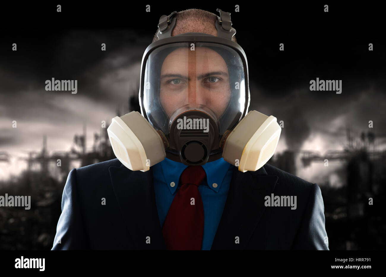 Man with mask in a polluted envirement - Stock Image