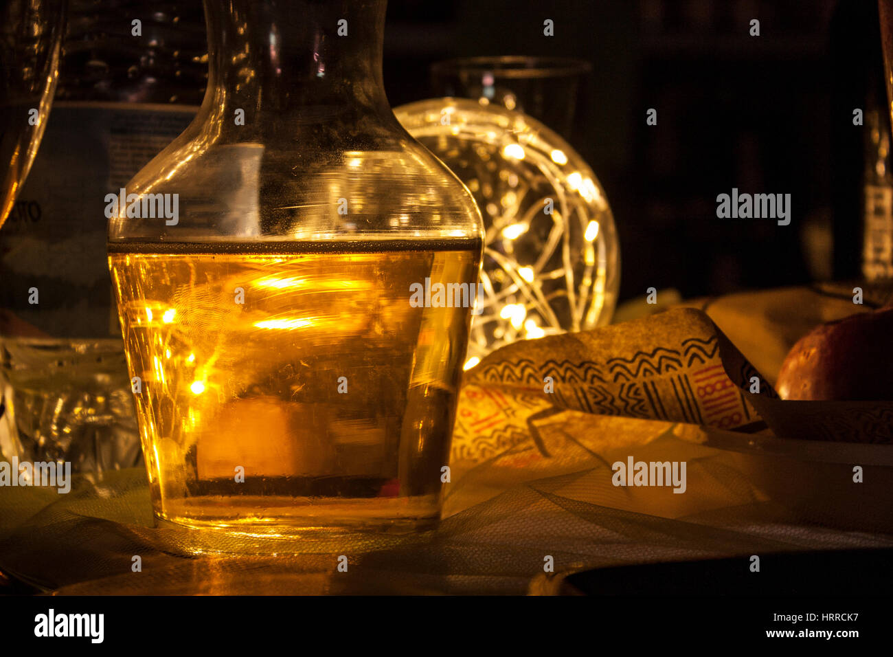Wine draft in a table during a typical Italian dinner - Stock Image