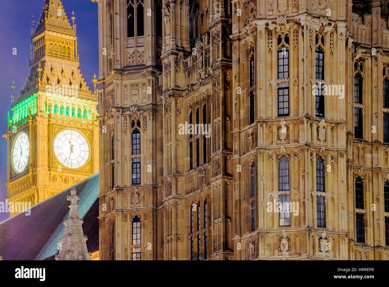Close up of Big Ben at night time - Stock Image