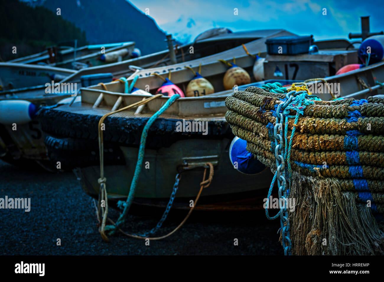 Marlinspike on bow of idle purse seiner skiff near Sitka, Alaska, USA. Photography by Jeffrey Wickett, NorthLight - Stock Image