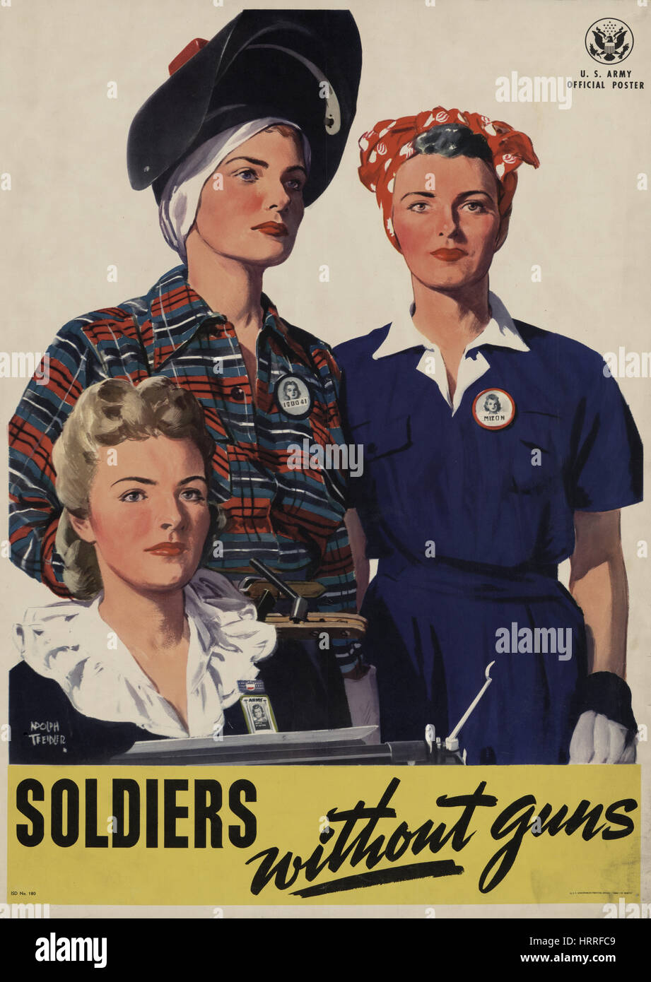 Portrait of Three Women Working for the War Effort, 'Soldiers without Guns', U.S. Army World War II Poster, - Stock Image