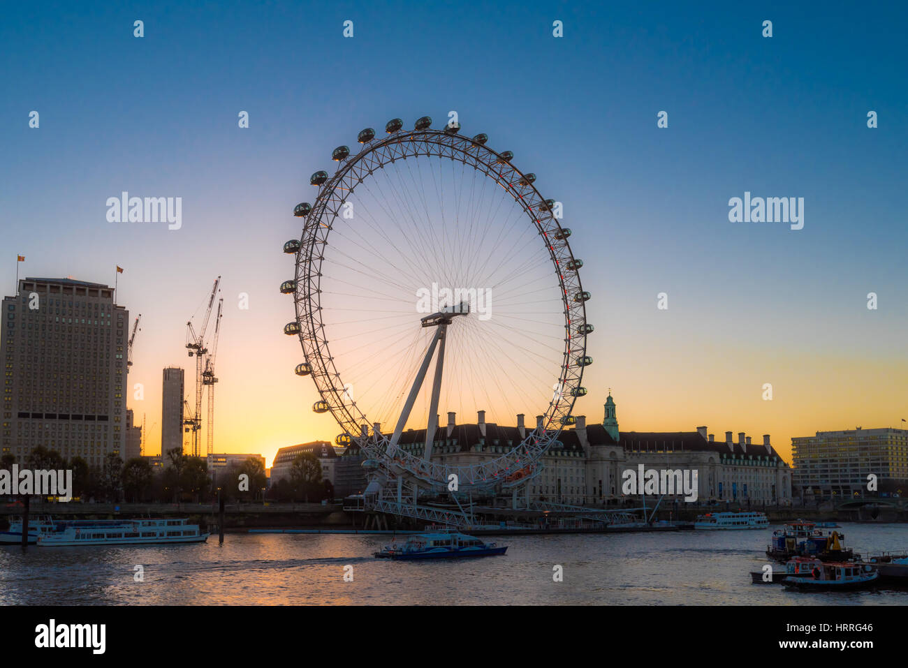 London Eye at Sunrise- UK - Stock Image