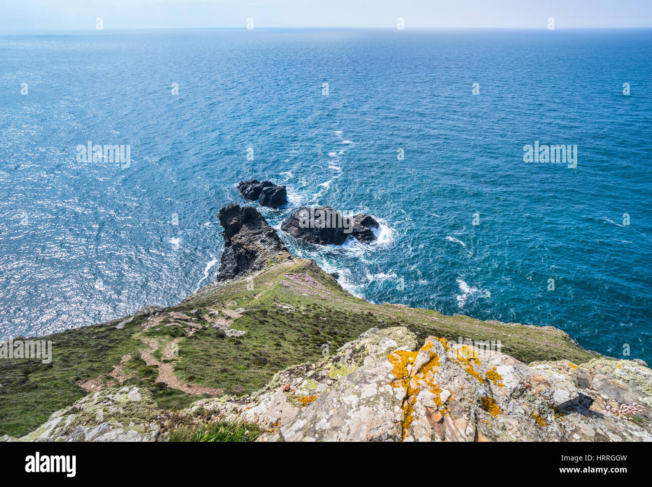 United Kingdom, South West England, Cornwall, St. Agnes Heritage Coast, view of St. Agnes Head - Stock Image