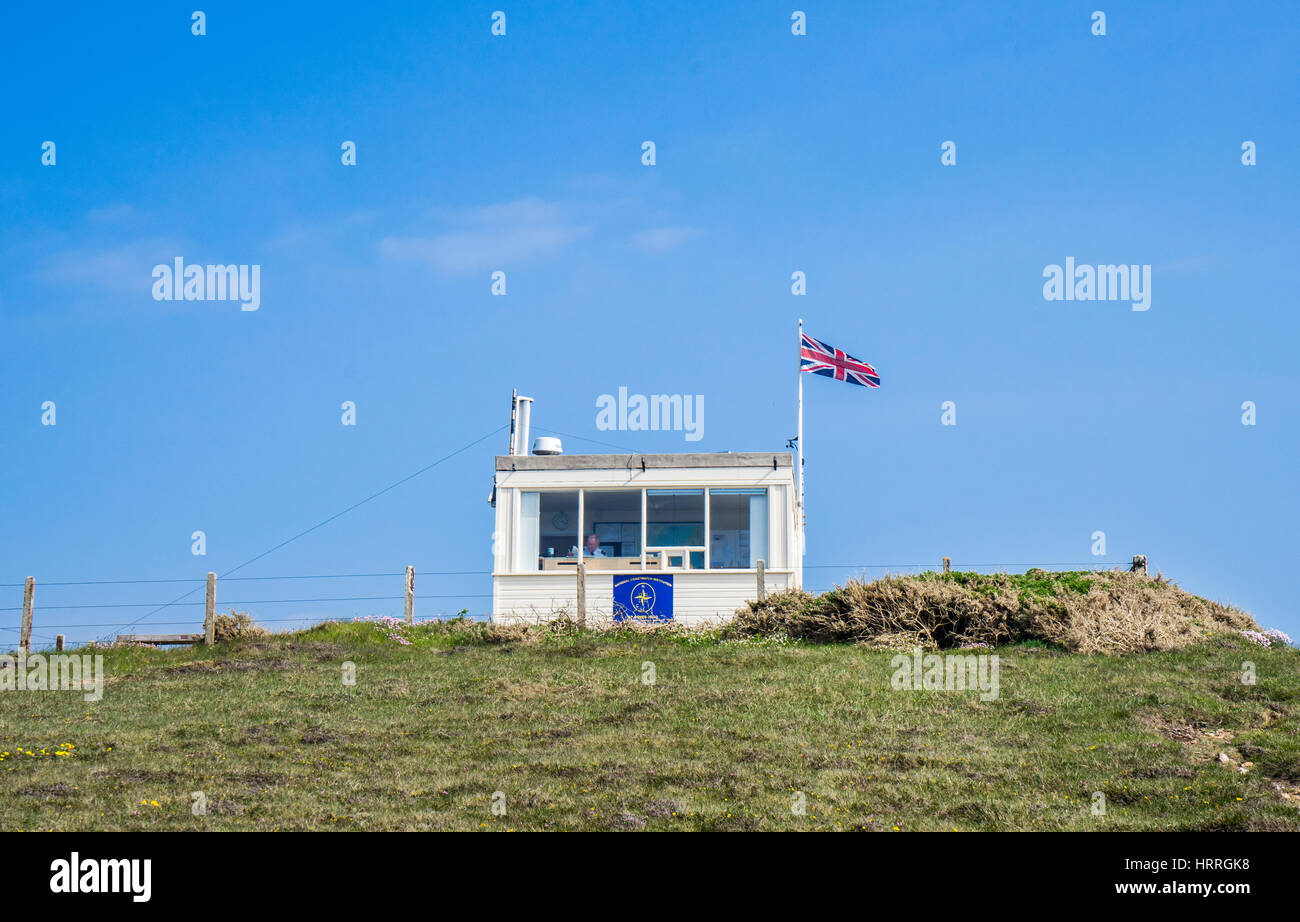 United Kingdom, South West England, Cornwall, St. Agnes Heritage Coast, Coastwatch lookout at St. Agnes Head - Stock Image