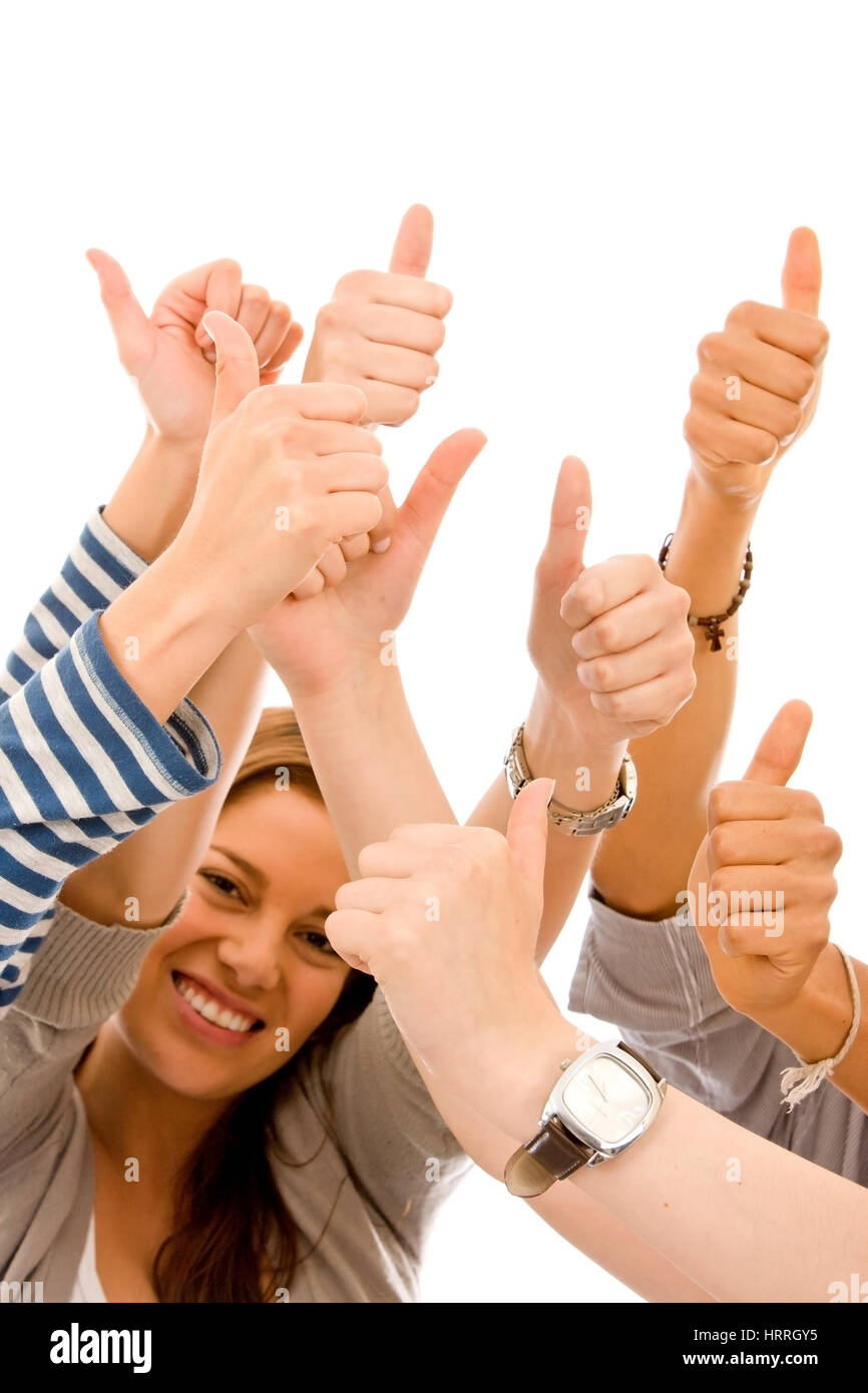 Thumbs up isolated over a white background - Stock Image