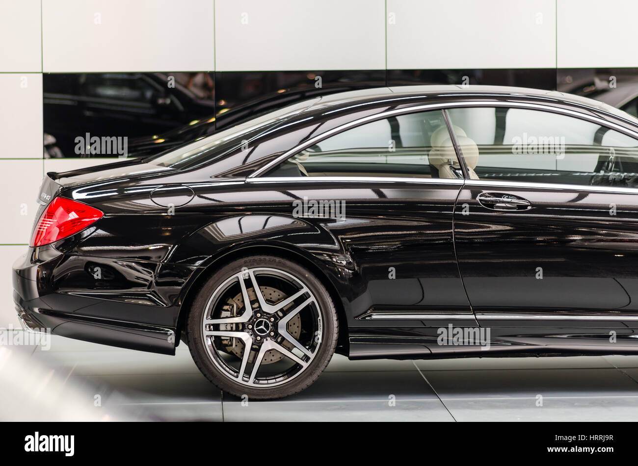 Kyiv, Ukraine - April 21th, 2014: Showroom. Mid-size luxury car Mercedes-Benz CL 63 AMG Coupe Stock Photo