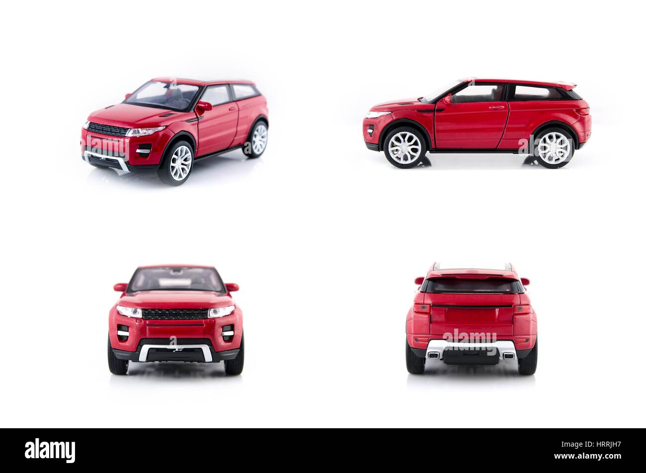 Red car toys set isolated on white background - Stock Image