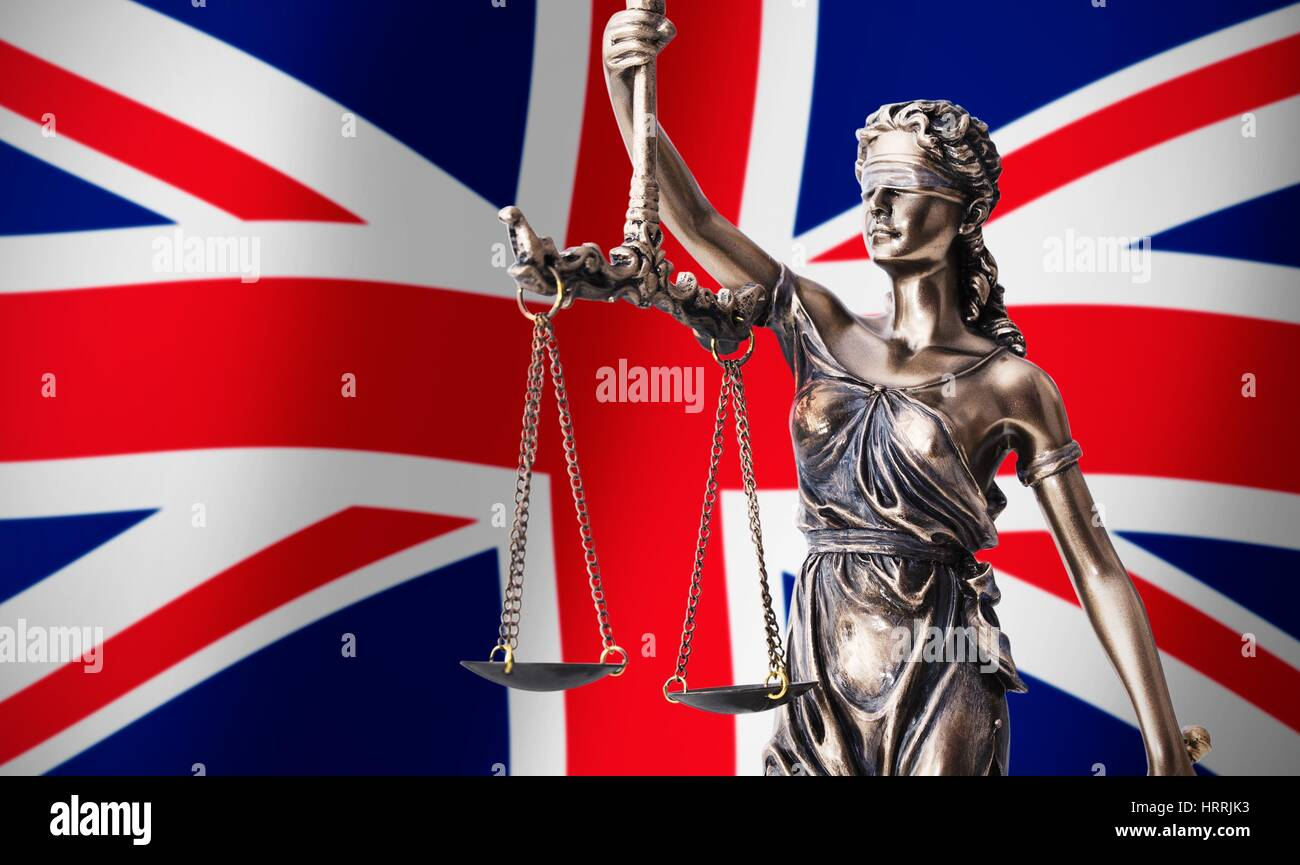 Themis With Scale Symbol Of Justice On Uk Flag Background Stock