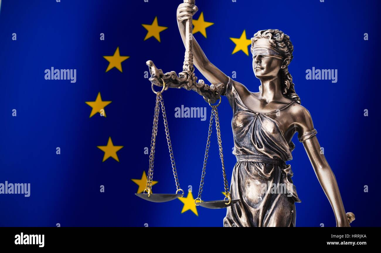 Themis with scale, symbol of justice on European Union flag background composition - Stock Image