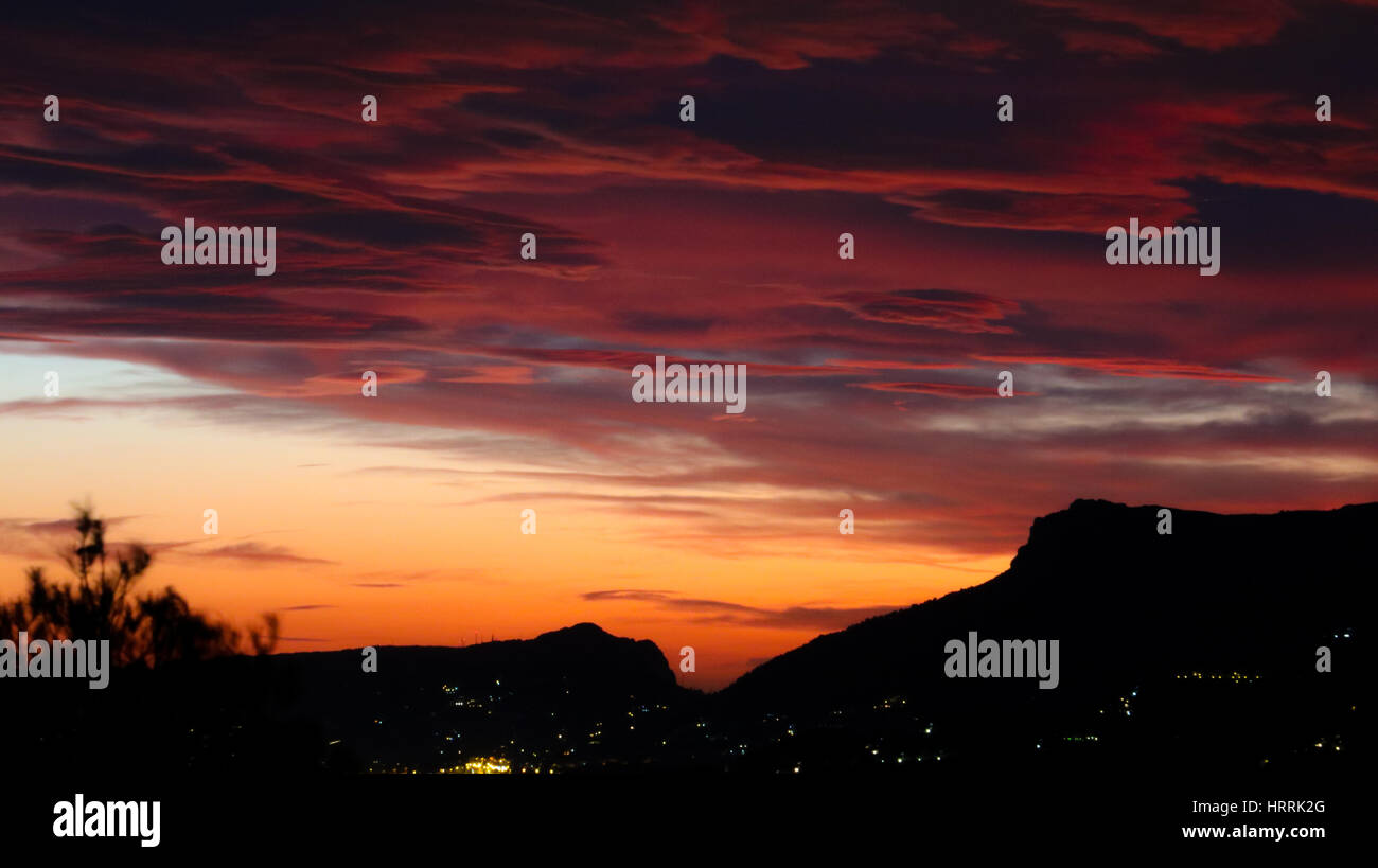 Sunset over Calpe Moraira, Spain - Stock Image