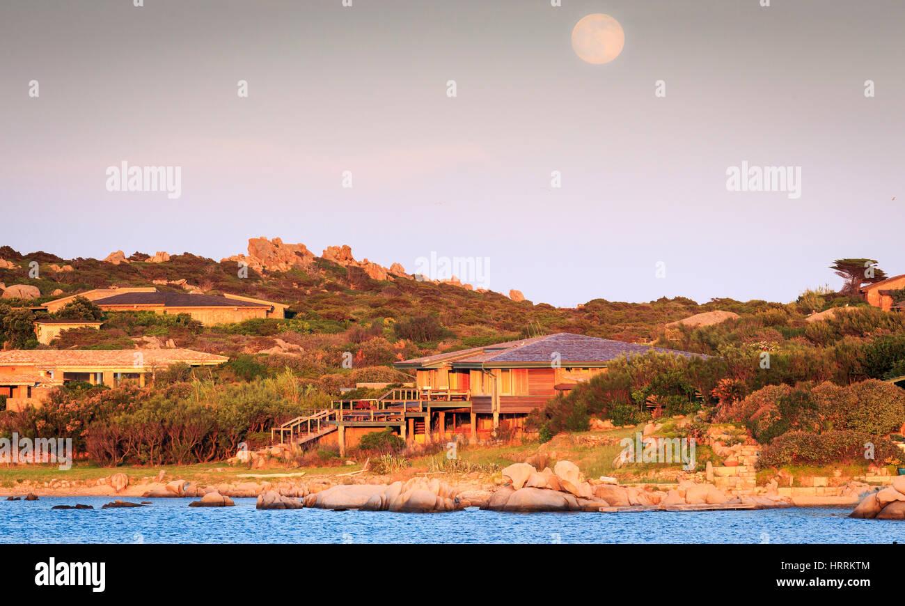 Moonrise over Cavallo Island, Corsica, France - Stock Image