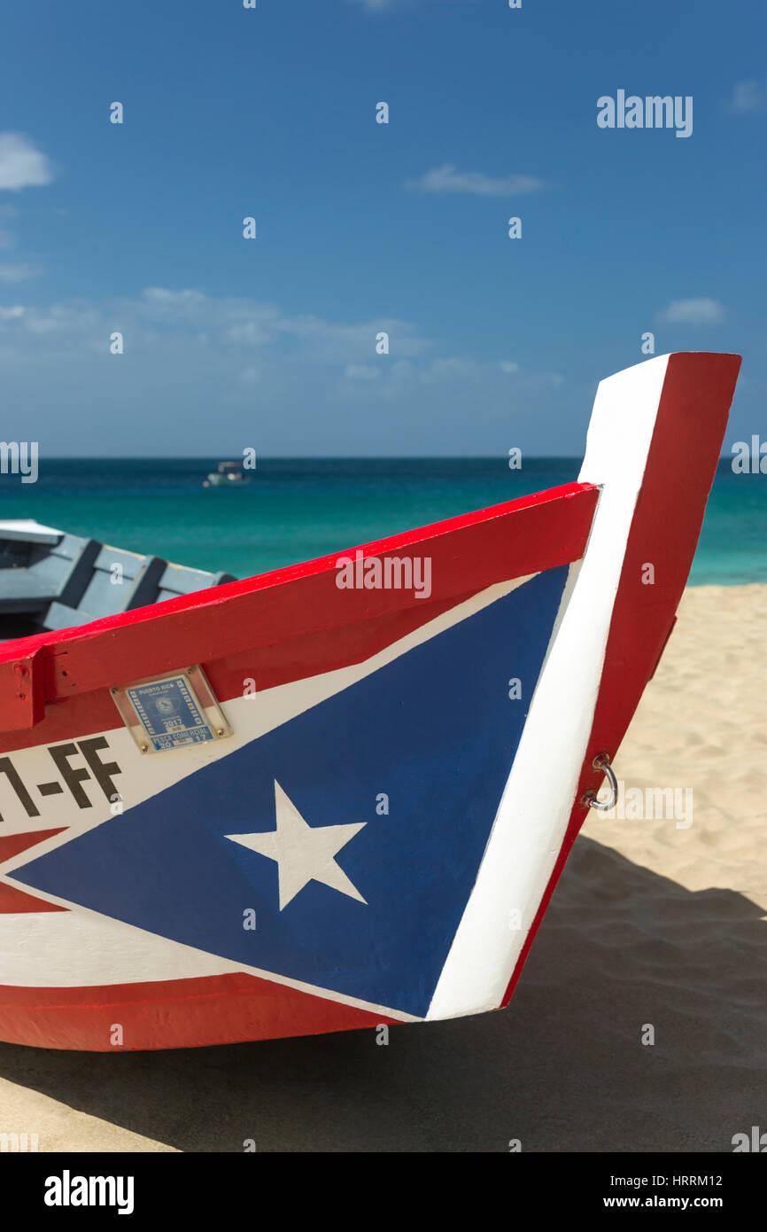 PUERTO RICAN FLAG PAINTED YOLA FISHING BOAT CRASH BEACH AGUADILLA RICO