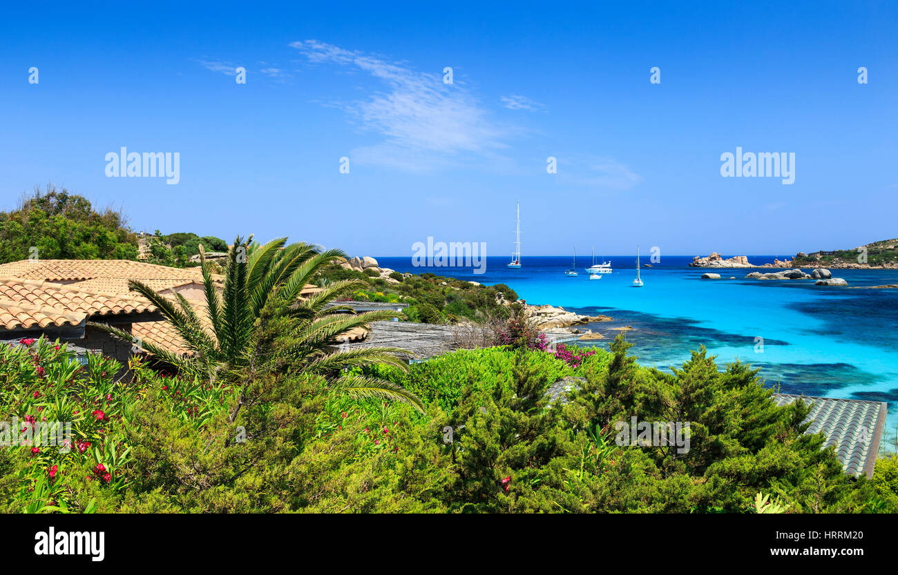Bay with house rooftop, Cavallo Island, Corsica, France Stock Photo
