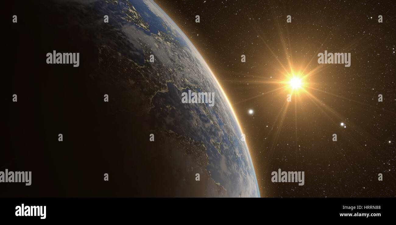 orange Sunrise over earth as seen from space. With moon and stars background. - Stock Image