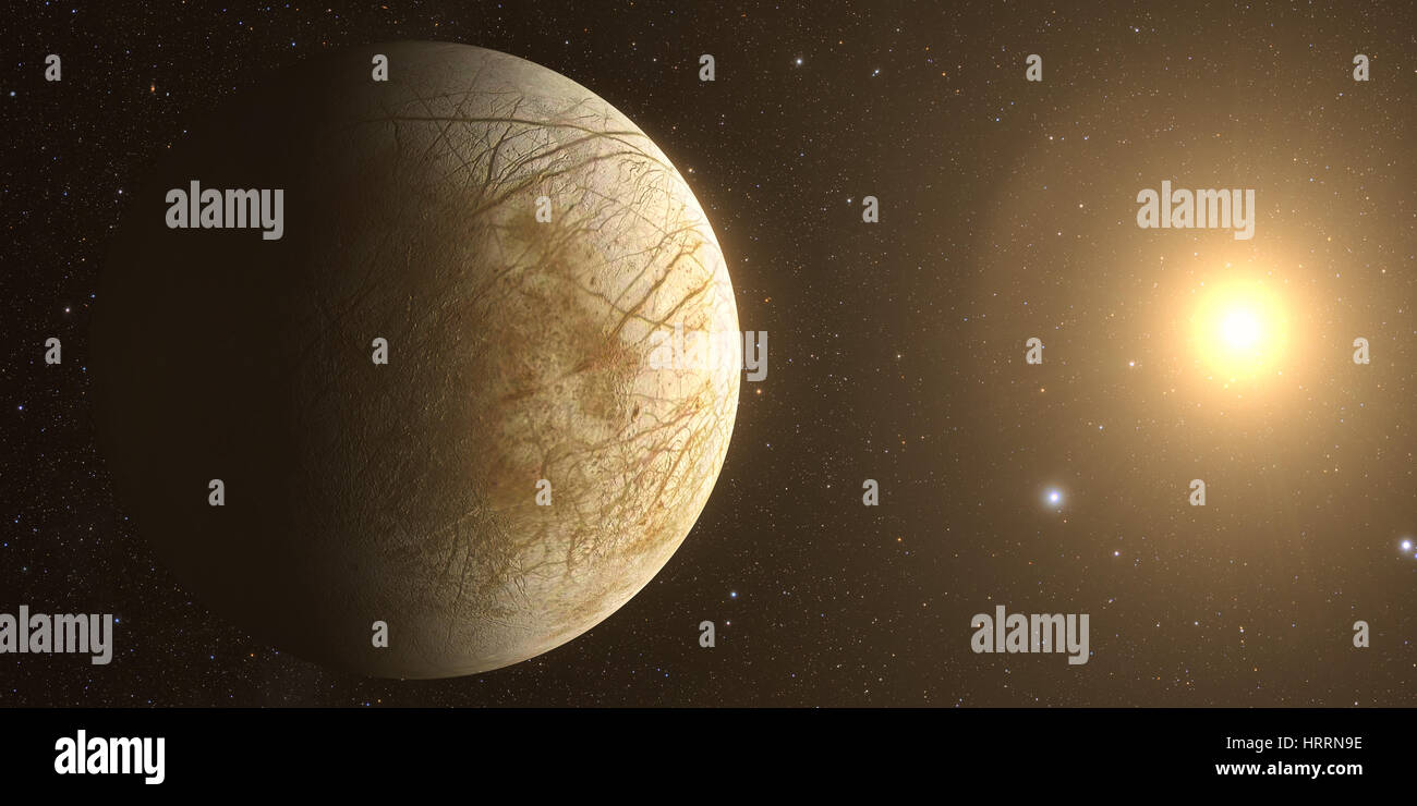 moon europa with beautiful sunset. Check my gallery for other sunsets and sunrises in space. - Stock Image