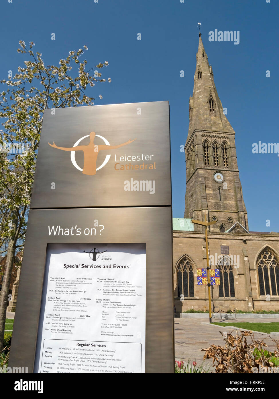 What's On sign in front of Leicester Cathedral, England, UK - Stock Image