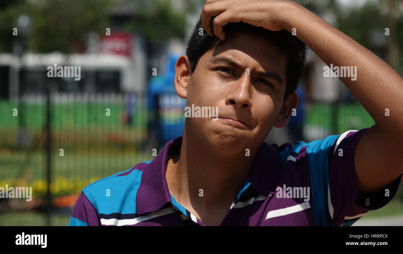 Sad Confused Teen Boy - Stock Image