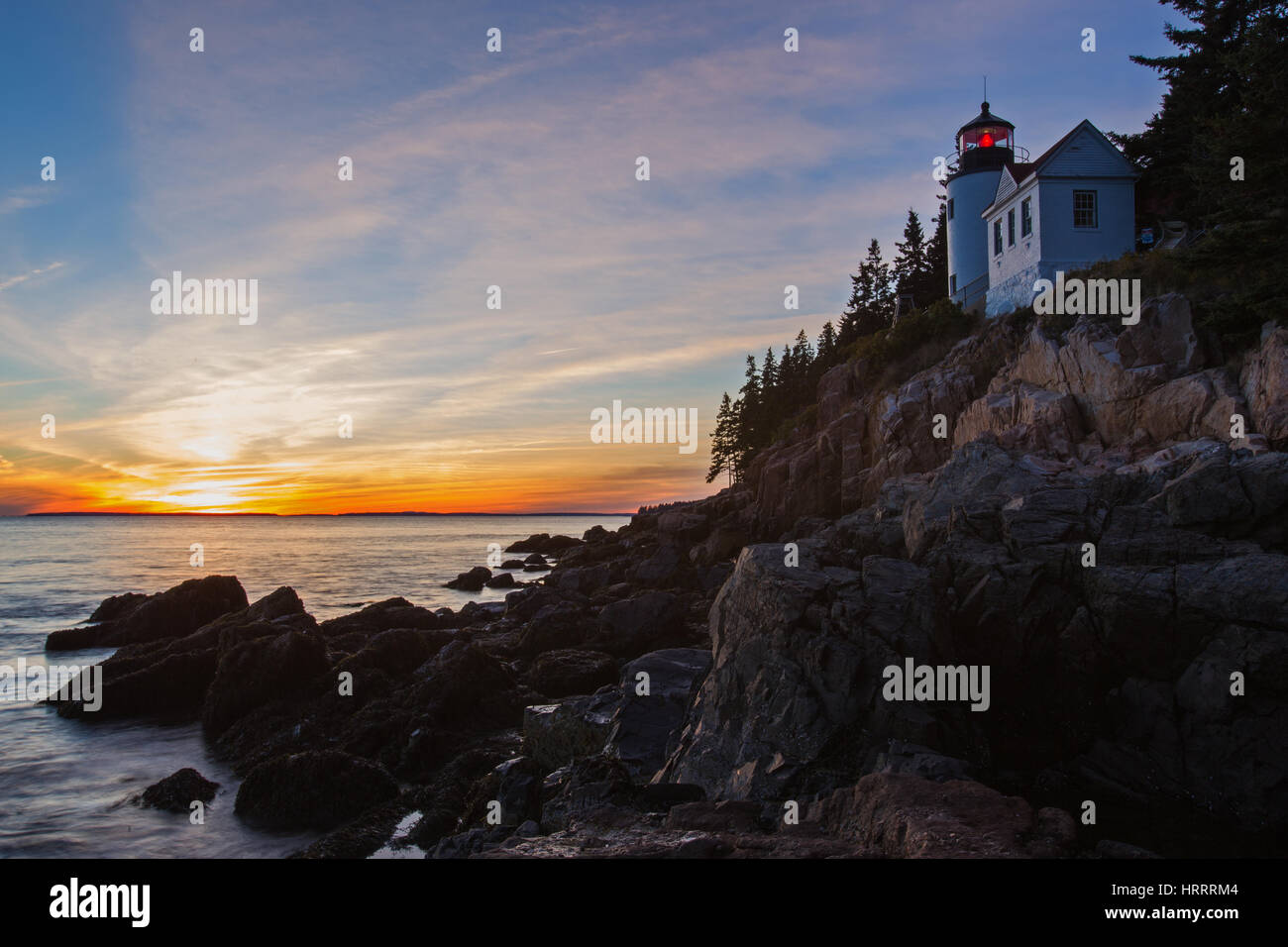 New England Lighthouse, The Bass Harbor Head Light - Stock Image