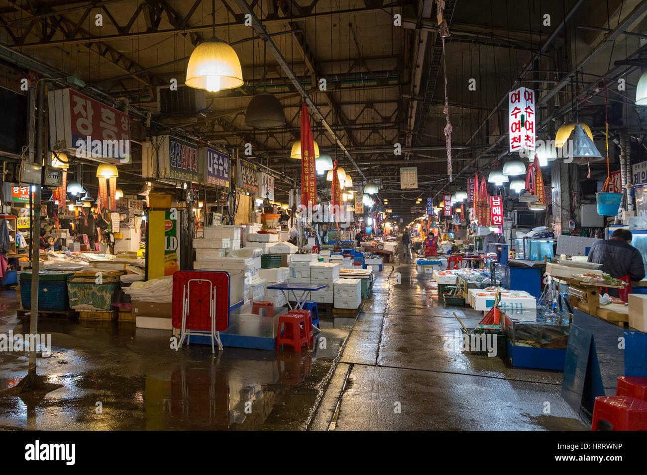 View of inside the Noryangjin Fisheries Wholesale Market (or Noryangjin Fish Market) in Seoul, South Korea. Stock Photo