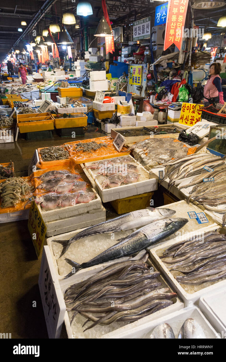 Fish and other seafood and people at the Noryangjin Fisheries Wholesale Market (or Noryangjin Fish Market) in Seoul, Stock Photo