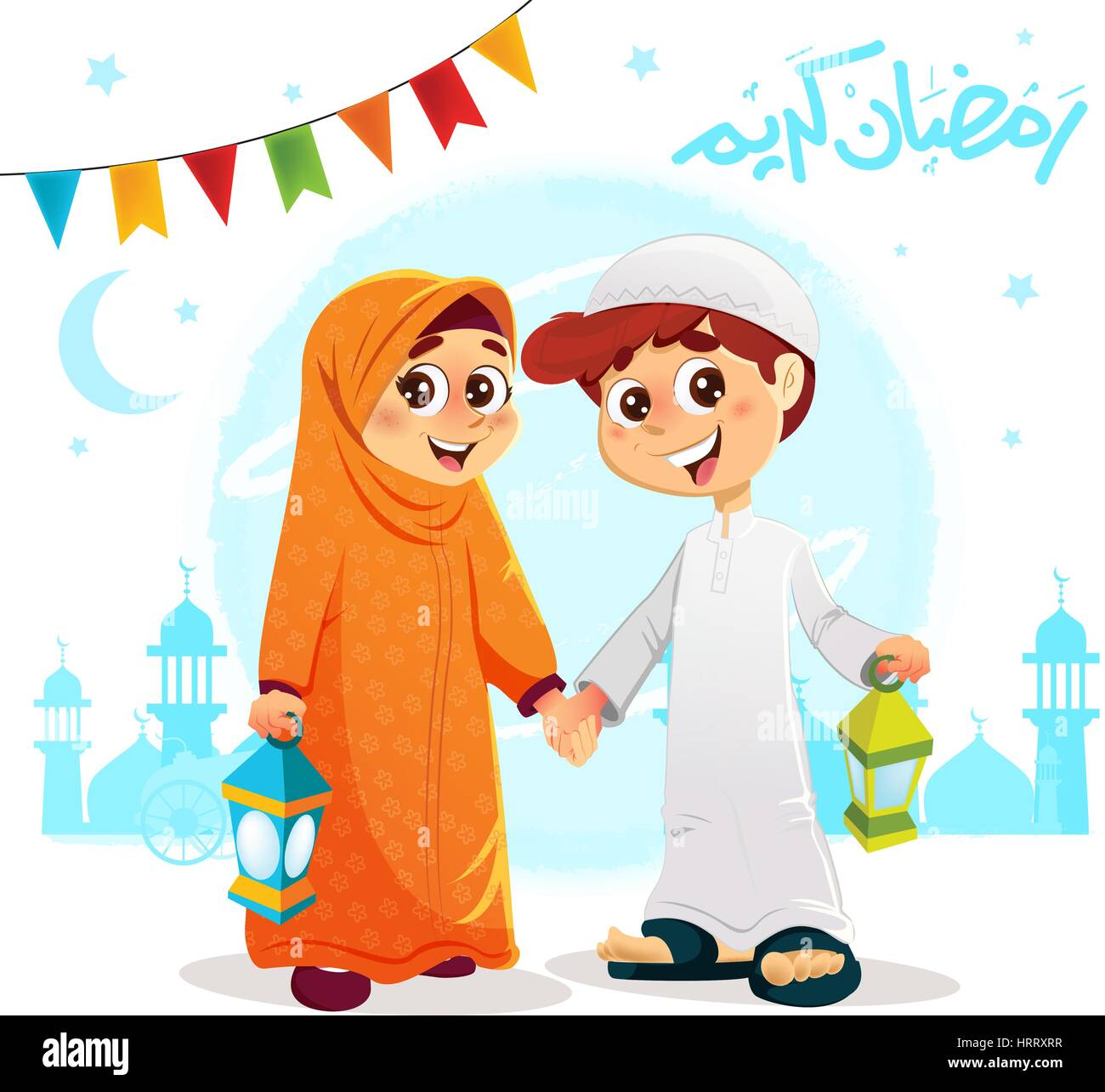 Vector illustration of arabic muslim boy and girl celebrating stock vector illustration of arabic muslim boy and girl celebrating ramadan with happy ramadan text written in arabic m4hsunfo