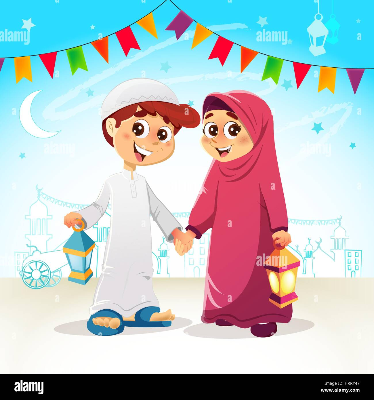 Vector Illustration Of Arabic Young Muslim Boy And Girl