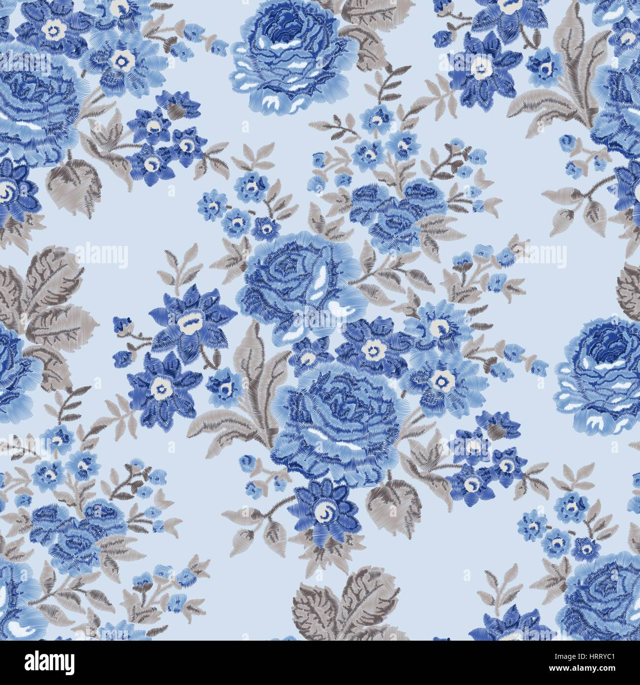 Seamless Embroidered Floral Pattern Luxurious Roses Vintage Blue