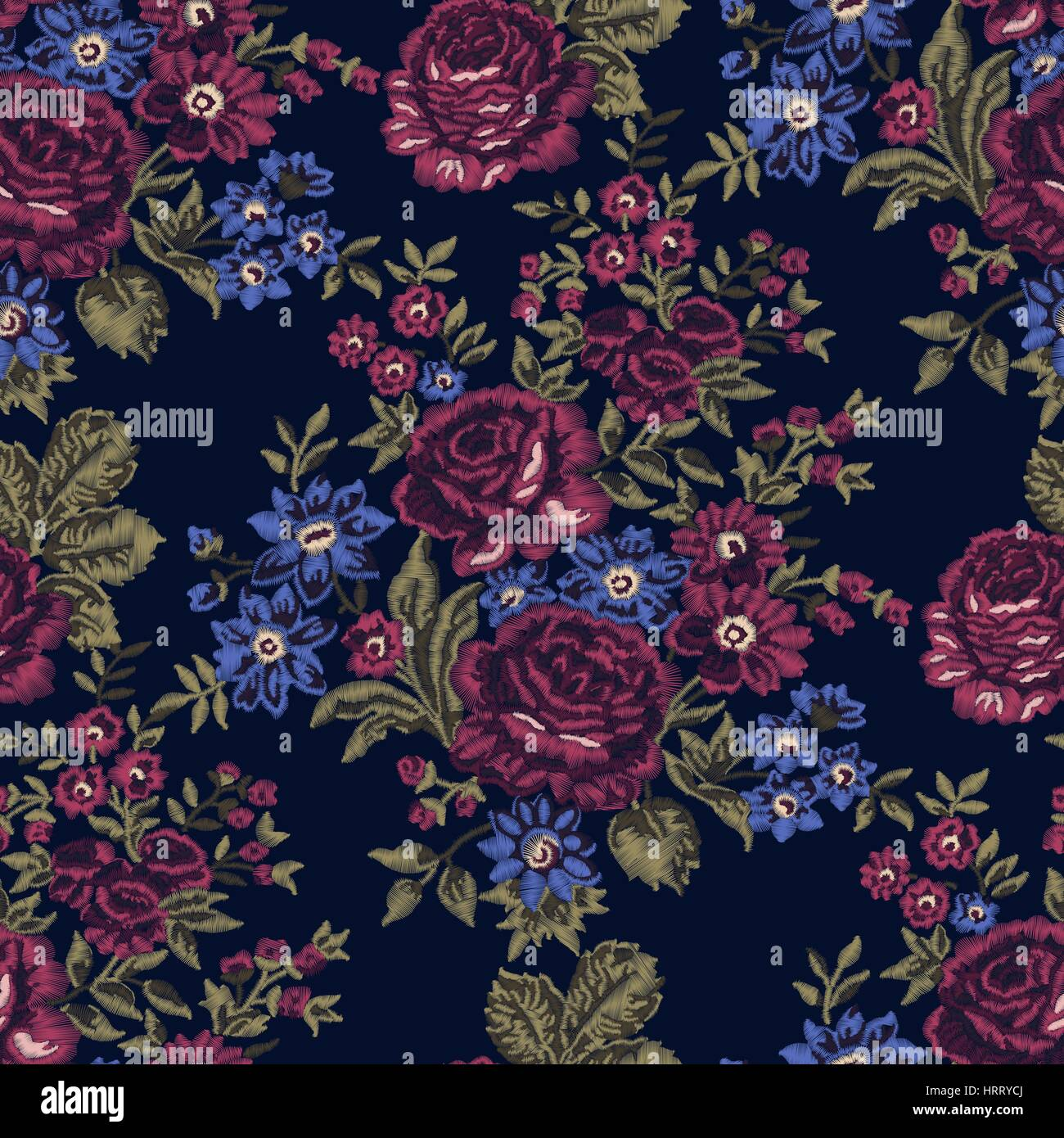 Seamless Embroidered Floral Pattern Luxurious Roses Vintage