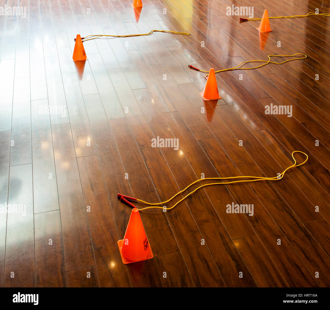 Workout stations in a fitness class before it starts. - Stock Image