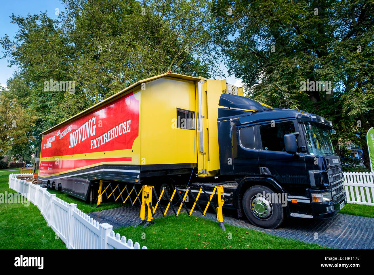 Travelling Cinema in an articulated lorry. The incredible Moving Picturehouse parked on Ealing Green London - Stock Image