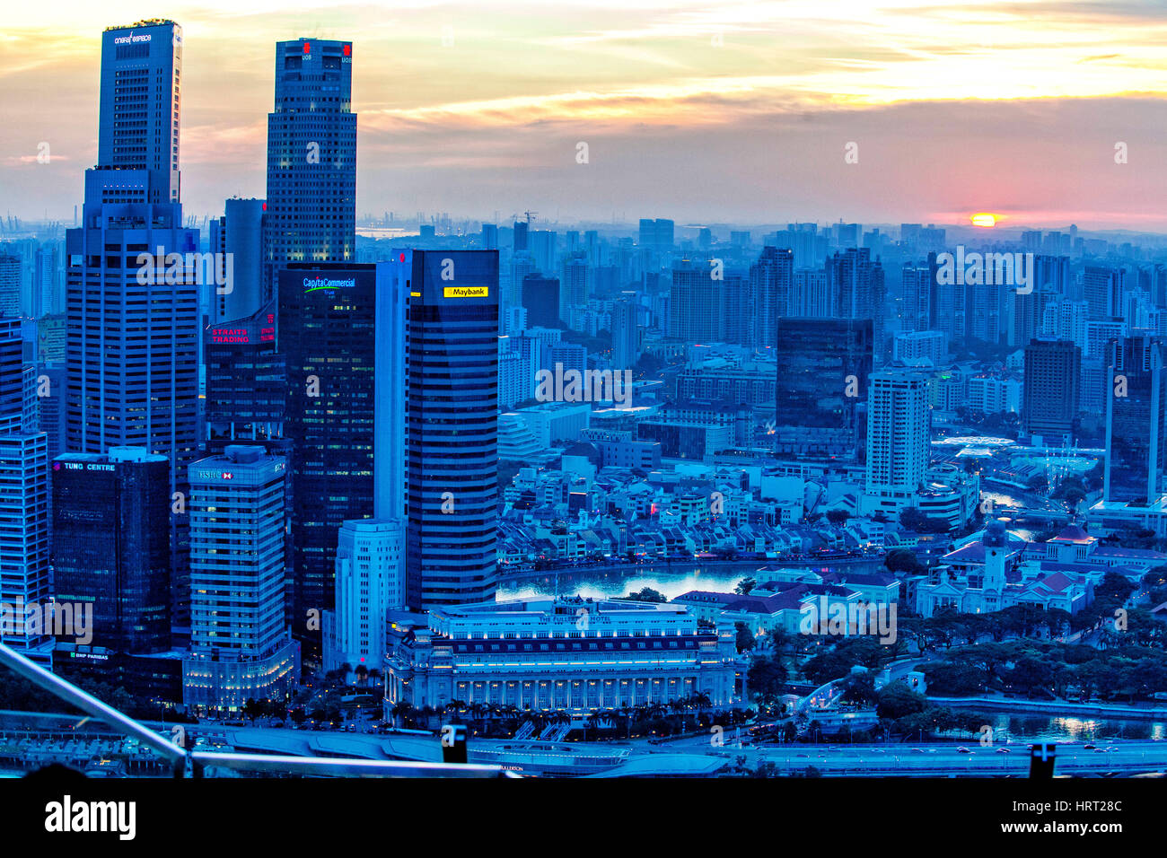 Skyline from financial district, blue hour with sunset, Singapore, Asia, Singapore - Stock Image