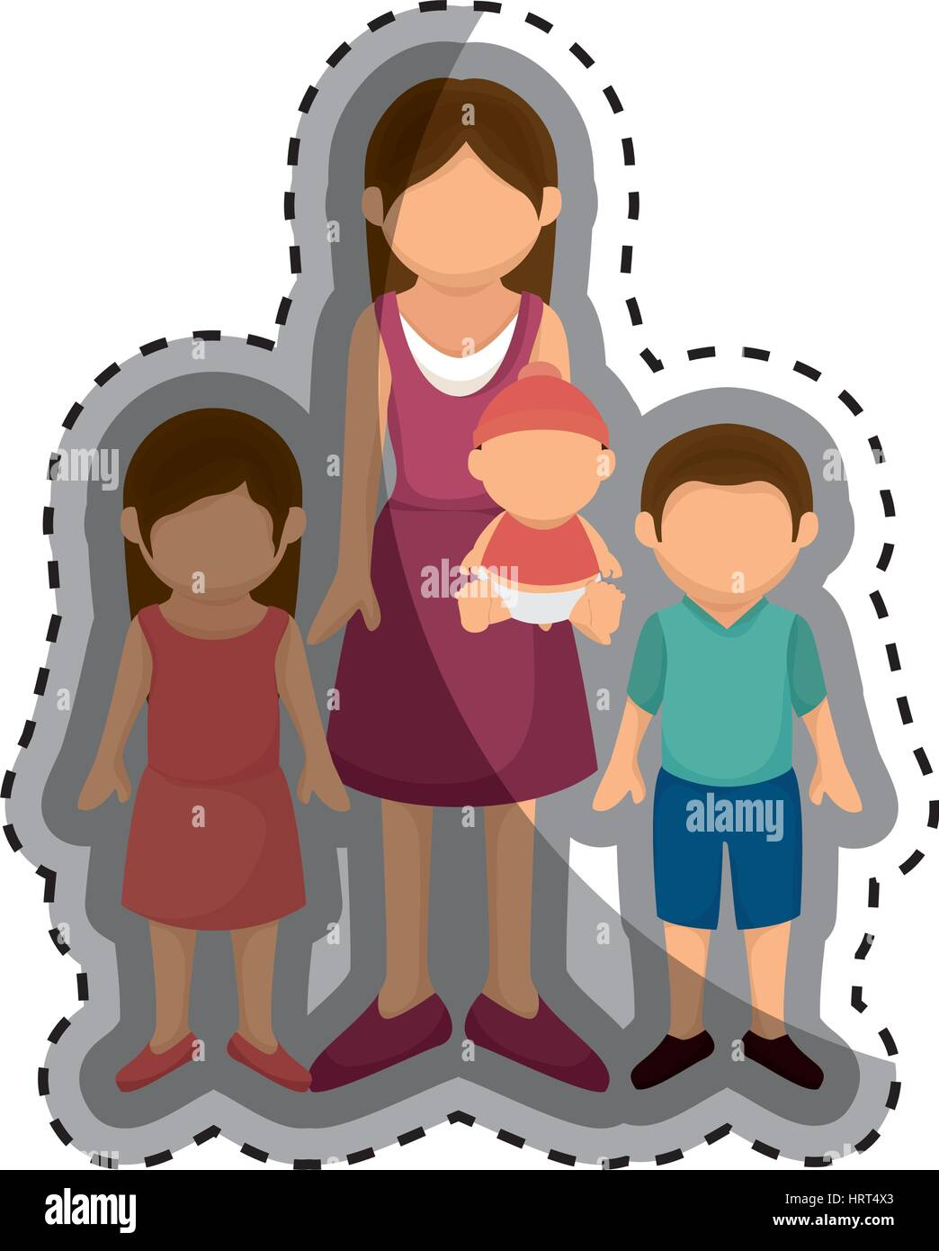 happy family members with baby - Stock Vector