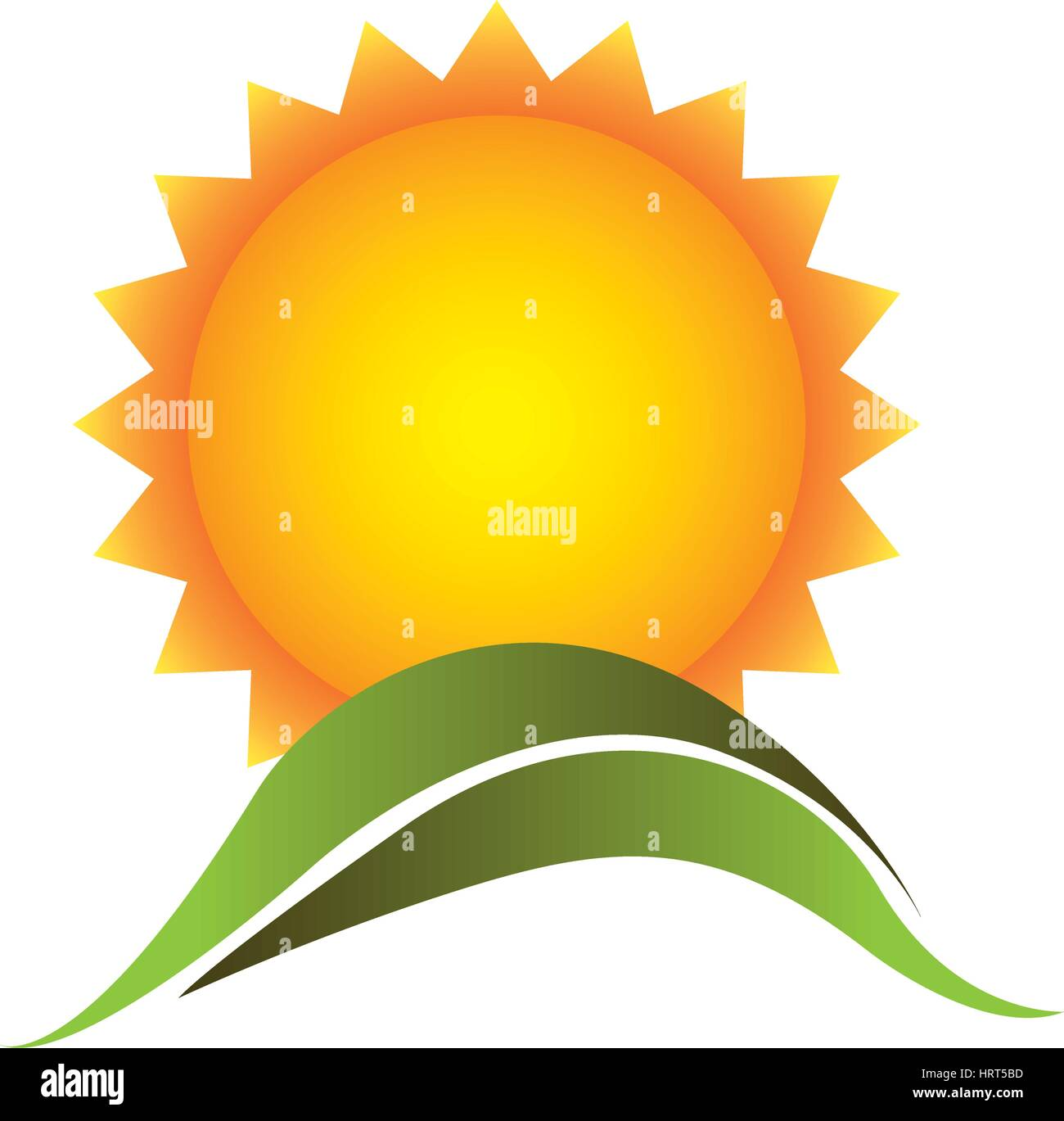 color beautiful sun with mountain icon - Stock Vector