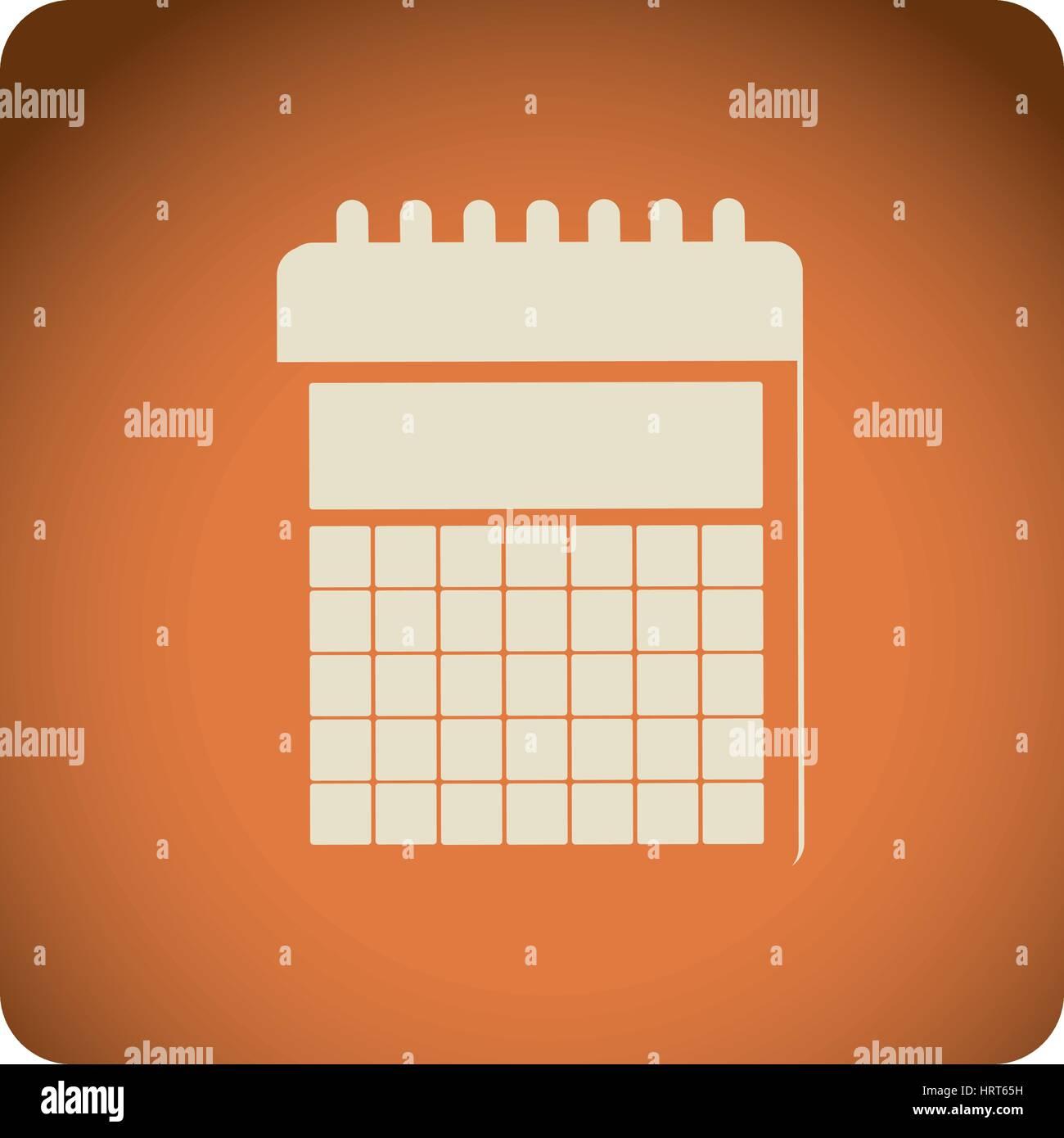 orange emblem calendar icon Stock Vector