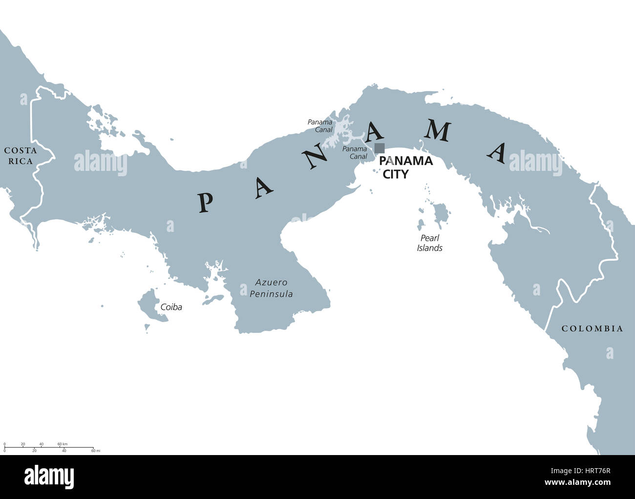 Panama political map with capital Panama City, national ...