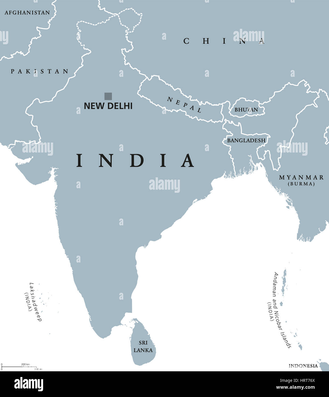 India Political Map With Capital New Delhi National Borders And