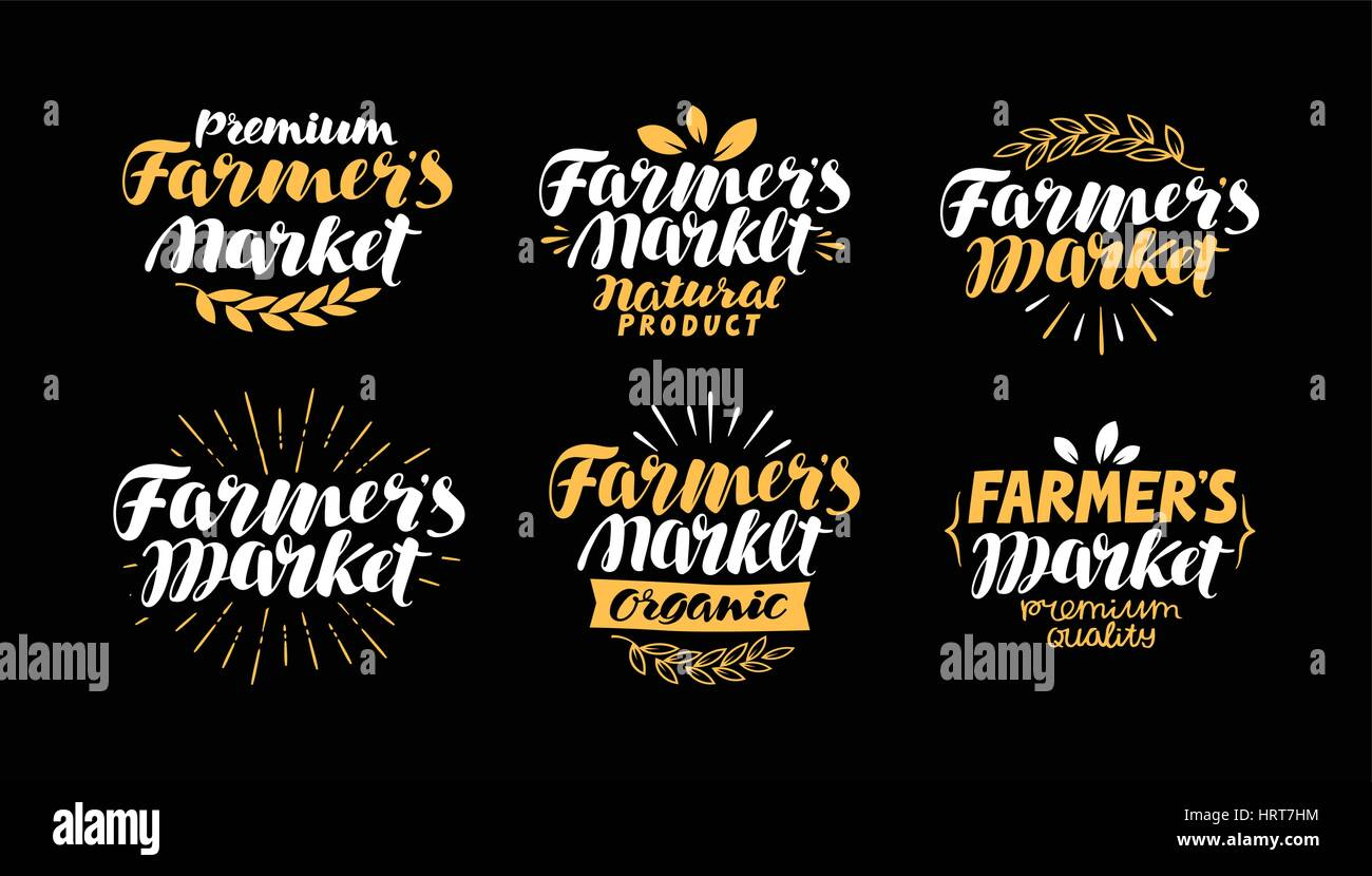 Farm or agriculture label. Farmer's market, handwritten inscription. Lettering, calligraphy vector illustration - Stock Vector